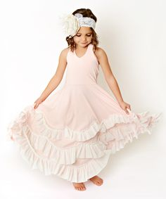 Light Pink & White Ruffle Tiered A-Line Dress - Toddler & Girls