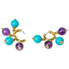 Playful Turquoise Amethyst diamond Gold Hoop Earrings