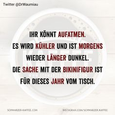 Es wird kühler und ist morgens wieder länger dunke… You can breathe again. The thing with the bikini figure is off the table for this year. Wise Quotes, Daily Quotes, Funny Quotes, Good Jokes, Best Vibrators, Workout Humor, Funny Pins, True Words, Thought Provoking