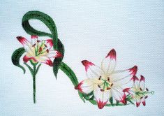 Handpainted Lipstick Lily Slipper needlepoint canvas by colors1 (Craft Supplies & Tools, Sewing & Needlecraft Supplies, Canvas & Stitchables, pattern, pillow, accessories, decoration, flowers, lily, slippers, cross stitch, needlepoint, needlepoint canvas, needlepoint pillow, needlepoint pattern, needlecraft)