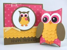 5/31/2011; Lynn Put at 'The Queen's Scene' blog using SU products for this card and 'pillow box die' owl... love them both!!