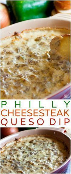 This hot, cheesy Philly Cheesesteak Dip is one of the best queso dips I have EVER had. It's easy to make, a little bit zesty, and game day perfection! | Game Day Recipe | Game Day Eats | Appetizer | Pot Luck Recipe