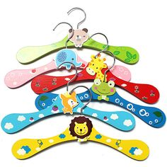 1~6pcs Cartoon Animals Baby Children Kids Wooden Coat Clothes Hooks Hanger
