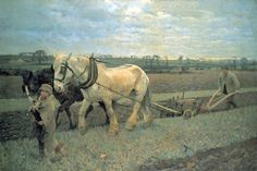 Sir George Clausen (1852-1944) Ploughing