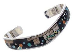 "Silver Multicolor Inlay Native American Mesa Design Cuff Bracelet YS67396 SilverTribe. $290.39. MEASUREMENTS: The inner bracelet circumference measures approximately 5-1/8"", plus a 1-1/8"" opening, and 3/8"" at widest point.. Silver Multicolor Inlay Native American Mesa Design Cuff Bracelet YS67396. MATERIALS: Sterling Silver, Turquoise, Picture Rock, Black Jade, Opal, Oyster Shell, Yellow and White Mother of Pearl.. Southwestern Jewelry. Save 45%!"