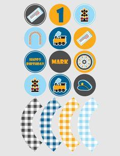 Printable cupcake toppers | Printable cupcake wrappers | Printable Party Circles | Choo Choo Party | Boy Party |Customised Download PDF by JJPrintables on Etsy