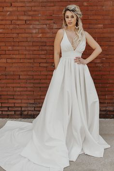 Simple Pleated Deep V White Wedding Dress With Train, SJS, This dress could be custom made, there are no extra cost to do custom size and color. Prom Dresses With Pockets, Wedding Dress With Pockets, Wedding Dresses With Straps, Wedding Dresses For Sale, White Wedding Dresses, Ivory Wedding, Bridal Dresses, Wedding Gowns, Flower Girl Dresses