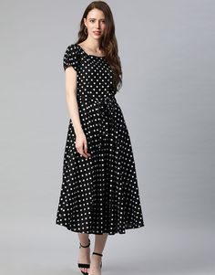 Black Polka Dress from the house of Swishchick. Length of the Knee Length Dresses, Short Sleeve Dresses, Casual Gowns, Dress Indian Style, Western Dresses, Indian Fashion, Designer Dresses, Summer Outfits, Boho