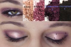 My Younique Makeup look of the day! I used Sexy, Sassy, Glamorous and Corrupted for this eyeshadow look for green eyes. A nice purple and pink look, add a little more black for a smokey look. https://www.youniqueproducts.com/luxelonglashes/products/view/US-1012-00#.UzxJa14QgXk