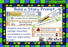 """Story prompts become individualized and interactive with this """"create your own story prompt"""".  Students draw from three seperate containers labeled """"Settings"""", """"Characters"""", and """"Problems"""".  Once they put their three drawn strips together they have their own prompt."""