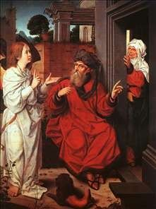 The Angel and Abraham, with Sarah laughing