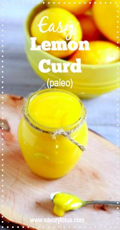 Easy Lemon Curd (paleo) - savorylotus.com Made with paleo chocolate cake... This was tasty.  Need to cook in low heat for a while to make sure the fat melts completely.