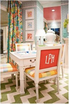 Love these monogrammed game table chairs! Such a whimsical, fun idea!!