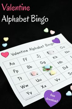 Planning a Valentine's Day party? Here is a fun Valentine game to place that also builds literacy skills. Play Valentine Alphabet Bingo with 1-20 kids  with these printables.- repinned by @PediaStaff – Please Visit  ht.ly/63sNt for all our pediatric therapy pins