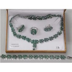 Emerald Fancy Necklace, Earring, Ring and Bracelet Set. - Auction Network