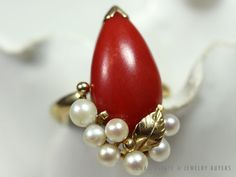 MING'S HAWAII RED CORAL PEARL 14K YELLOW GOLD RING (SZ 4.5) MINGS CORAL #MingsHawaii #SolitairewithAccents