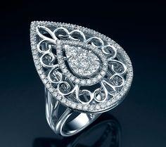 Ornate Pear Diamond Cluster Ring - Majestic Jewelry LTD