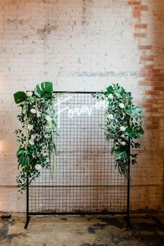 Neon sign backdrop Design + Styling: Photographer: Venue, Table, Chairs: Floral: ing wedding backdrop Modern Botanical Wedding Inspiration by Alexa Kay Events Anemone Wedding, Hipster Wedding, Modern Wedding Inspiration, Floral Backdrop, Ceremony Backdrop, Wedding Photo Backdrops, Wedding Backdrop Design, Wedding Photos, Diy Décoration