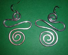 Orecchini in alluminium wire silver - diensioni H. 55mm L.35mm - 2016 maggio