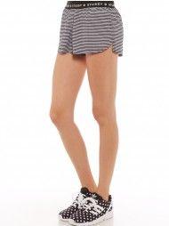 High Stripe Jog Shorts in Black and White