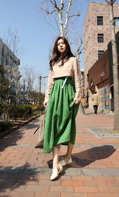 """Great way to combine present, multi-pattern, multi-materials that are not exclusively Korean patterns,...and engaging it into the modern, casual wear of the Hanbok. Love this. And not just modest, but classic. I love this. (Oooooo, I used the word """"love"""" twice"""";)"""