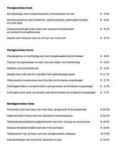 Menukaart pagina 2