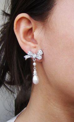 Rhinestone Bow Bridal Earrings, Vintage Inspired Pearl Drop Wedding Earrings, Retro Silver Bow Bridal Jewelry, Lola. $68.00, via Etsy.