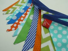 Boys birthday party Bunting/Banner. in Royal Blue, Lime Green, Orange and Aqua... Very vibrant via Etsy