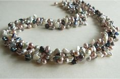 Three Strand Pink, White, Grey & Silver Keshi Twisted Necklace