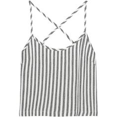 Kain Saffron striped twill camisole ($53) ❤ liked on Polyvore featuring tops, crop tops, shirts, crops, ivory, stripe shirt, surplice top, white camisole, white camisole top and white top