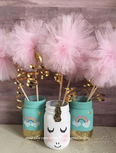 Set includes a giggling unicorn jar w/ tutu and two rainbow jars, pint or quart size available, unicorn jar centerpiece A personal favorite from my Etsy shop wwwetsycom/… - Humor Unicorn Themed Birthday, Rainbow Birthday, Mermaid Birthday, Unicorn Birthday Parties, Birthday Party Decorations, 5th Birthday, Birthday Ideas, Baby Shower Unicornio, Paper Centerpieces