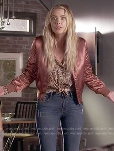 Hanna's pink bomber jacket on Pretty Little Liars. Outfit Details: https://wornontv.net/59268/ #PLL