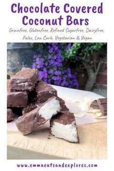 Chocolate Covered Coconut Bars - Emma Eats & Explores Vegan Dessert Recipes, Delicious Desserts, Snack Recipes, Candy Recipes, Healthy Recipes, Melting Chocolate, Chocolate Covered, Mini Desserts, Sweet Desserts