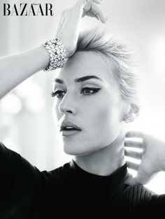 Kate Winslet looks ultra glamorous with winged liner in Harper's Bazaar UK April 2013.