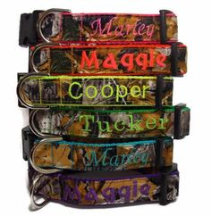 Give your hunting dog the perfect look with a personalized camo dog collar. The Realtree fabric really looks incredible against the neon color options. WARNING: overload of compliments will occur when