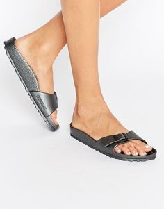 Birkenstock Madrid Metallic Narrow Fit Slide Flat Sandals