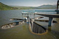 Star-shaped spillway at Kechut Reservoir near Jermuk in Armenia.
