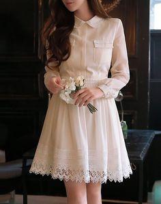 #AdoreWe #VIPme A-Line Dresses - Dabuwawa Classic Beige Polyester Plain Casual A-line Mini Dress - AdoreWe.com