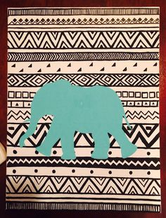 Tribal Print Animal Canvas Painting by aLittleExtraSparkle on Etsy