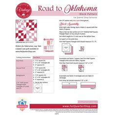 Road to Oklahoma Classic & Vintage Quilt Block Pattern Blocks, Block Patterns, Queen Size Quilt, Dotted Line, Fat Quarter Shop, Fabric Squares, Vintage Quilts, Oklahoma, Quilt Blocks