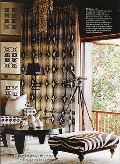 Love the monochrome prints Lodge Singita Pamushana Deco Ethnic Chic, Ethnic Decor, African Interior Design, African Design, Ethno Design, African Theme, African Safari, African Style, African Furniture