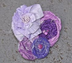 Purple Fabric Rosette Hair Bow by PrincessIzzyBoutique on Etsy, $8.99
