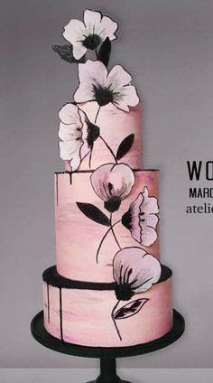 50 Ideas Birthday Cake Decorating Flowers Wafer Paper For 2019 Black Wedding Cakes, Wedding Cakes With Cupcakes, Elegant Wedding Cakes, Beautiful Wedding Cakes, Cupcake Cakes, Cake Wedding, Wedding Themes, Beautiful Cakes, Amazing Cakes
