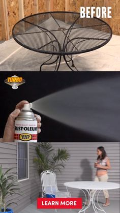An easy DIY when you're on a budget. Get a luxury look for less on your outdoor patio furniture and do it faster with Rust-Oleum Turbo Spray System. The new nozzle sprays 4 times more paint allowing your patio furniture makeover to be done in no time. Spray paint your table, chairs, a metal cabinet or even your shed. Complete your project quickly and get back to the things you enjoy.