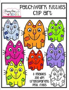 Have fun using these 8 patchwork kitties on your classroom materials and TpT products.  The original images are large and will resize beautifully.  All images are 300 dpi, transparent, png. files.    Please be kind and leave feedback... I REALLY appreciate it!