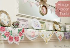 Vintage Mantel of Floral Handkerchiefs