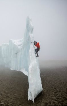 Will Gadd climbing some of the last remaining ice on Mt Kilimanjaro.