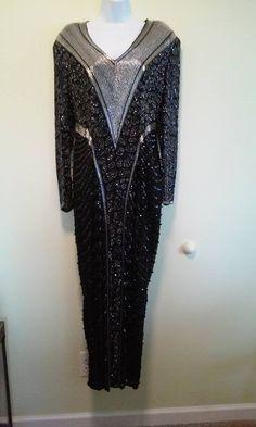 Vintage Silk Beaded Long Black Evening Dress Size 12