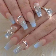 20 Elegant Acrylic Blue Nails Design For Coffin and Stiletto Nails - Easy Nail Designs 💅 Bling Nails, Gold Nails, Swag Nails, Blue Stiletto Nails, Grunge Nails, Rhinestone Nails, Fancy Nails, Acrylic Nails Coffin Short, Blue Acrylic Nails