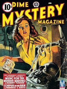 Dime Mystery Magazine pulp cover art girl woman dame knife dagger stab mummy Egypt Egyptian casket foreign exotic danger
